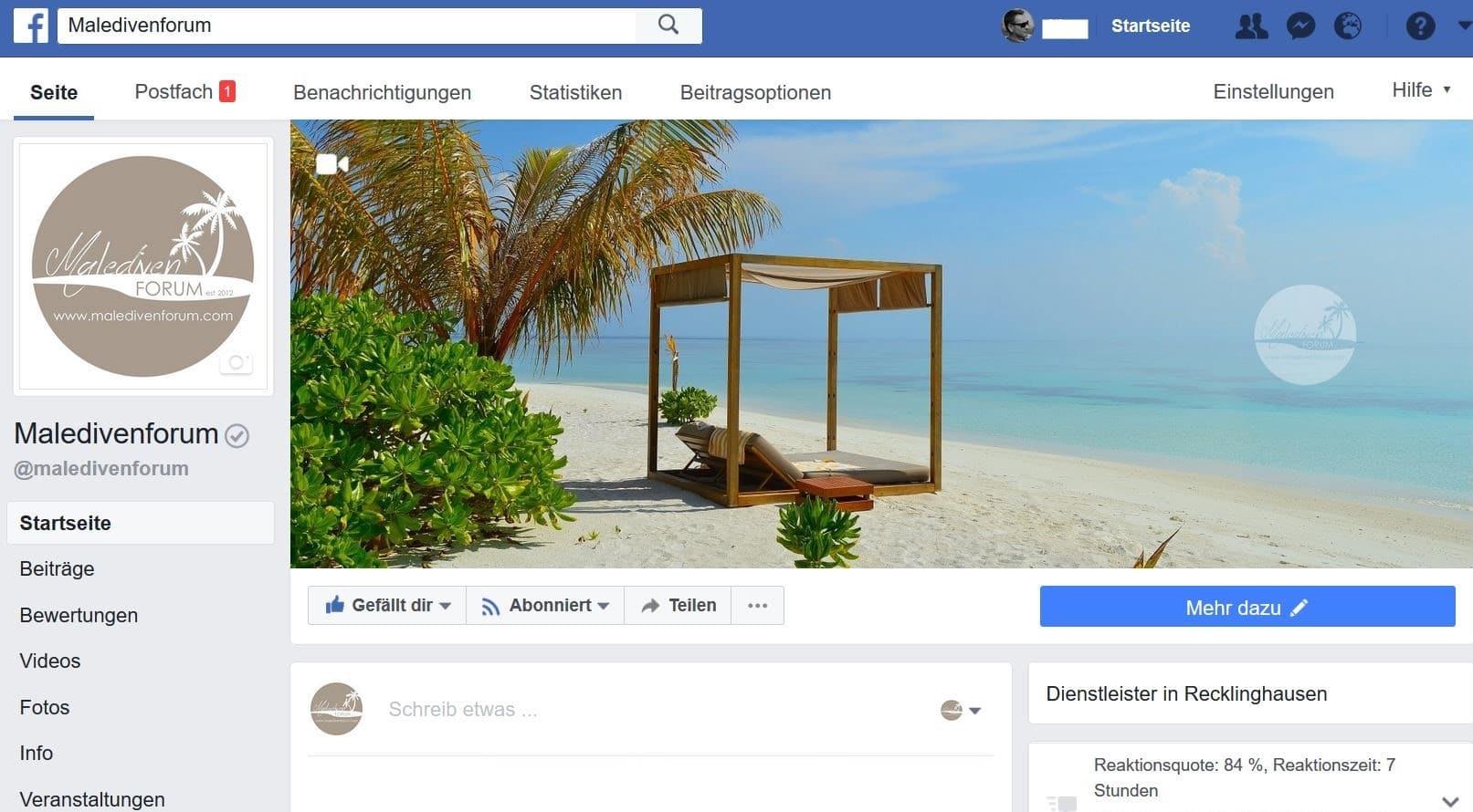 Maledivenforum Facebook-Seite