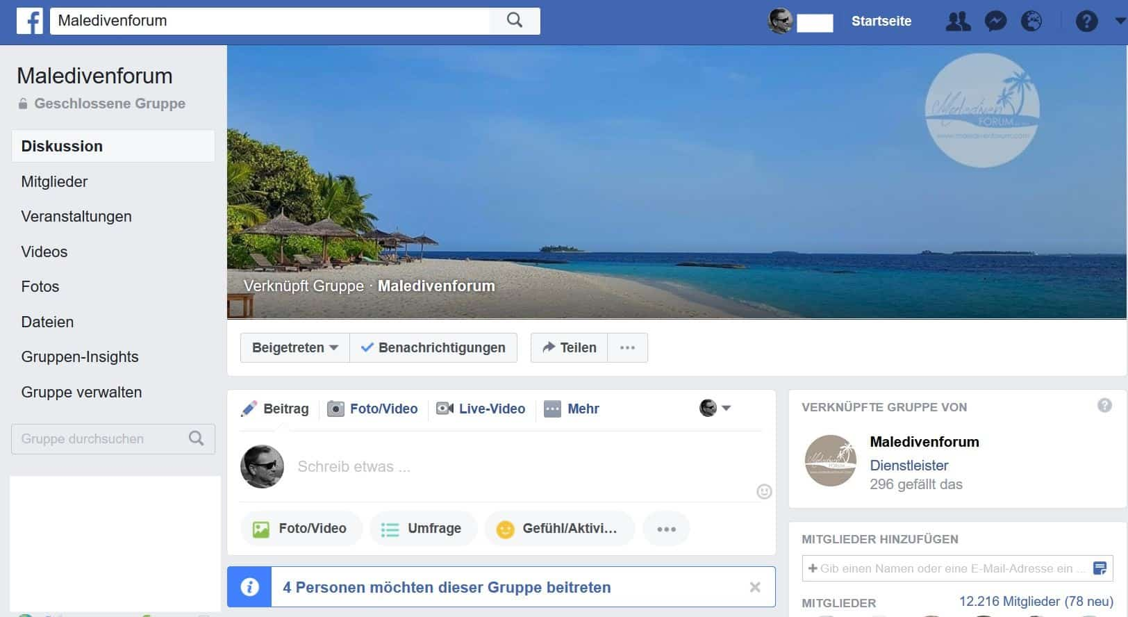 Maledivenforum Facebook-Gruppe